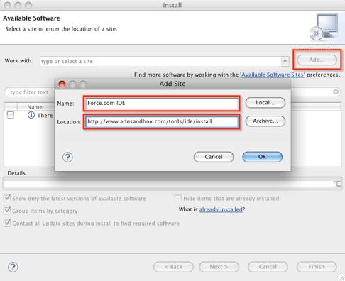 Eclipse add site Salesforce
