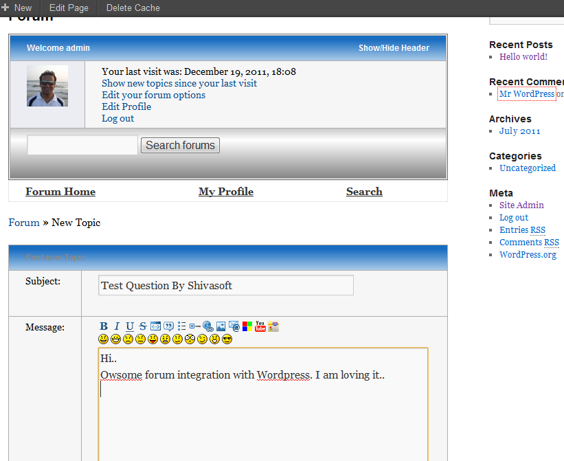Integration of forum with WordPress blog