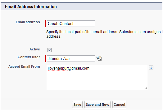 Email Address Information - Salesforce