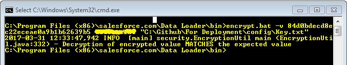 Salesforce command line dataloader - verify encrypted text