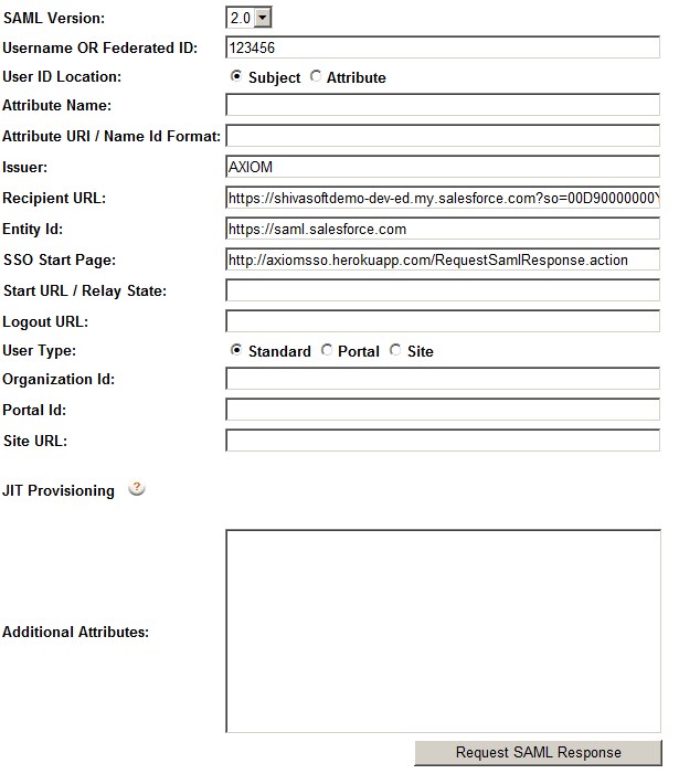 Generate SAML response