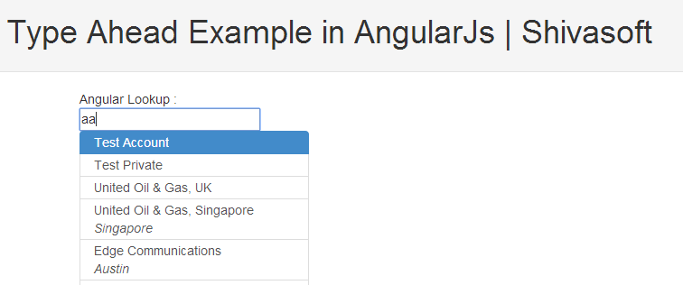TypeAhead Demo using AngularJs