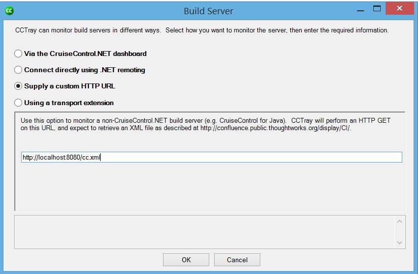 CCTray Build Server custom HTTP URL