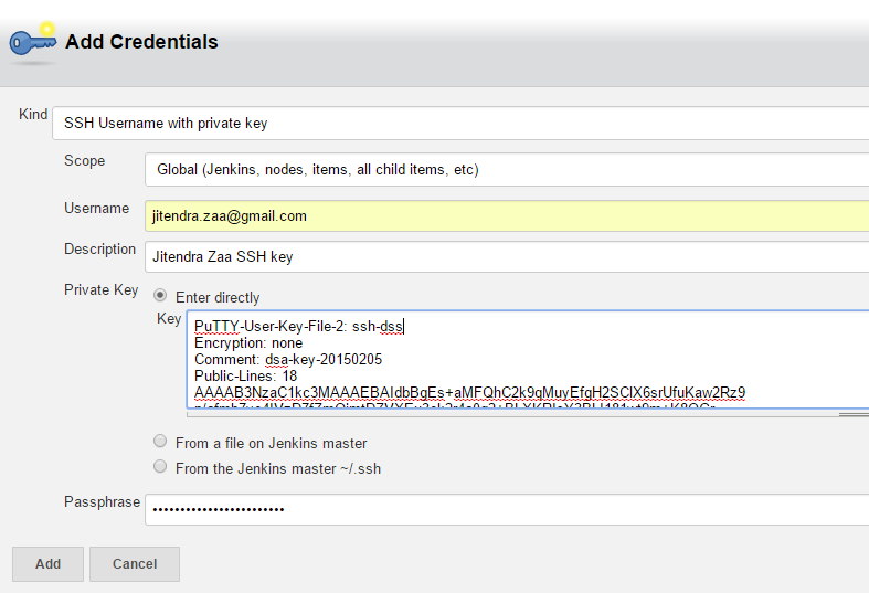 Jenkins SSH Username with private key Credentials
