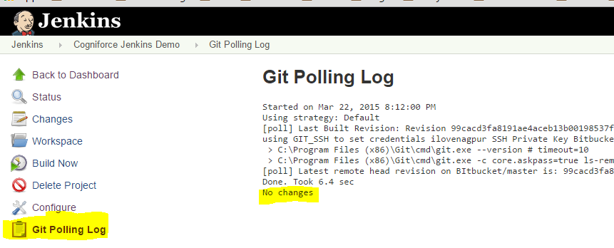 Salesforce - Jenkins Git Polling Log