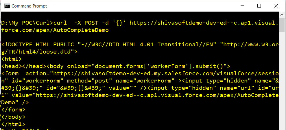Access Visualforce page using cURL
