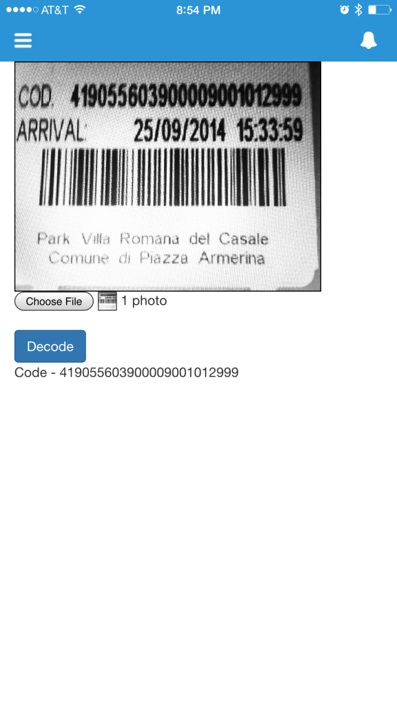 Barcode decoder in Salesforce 1 mobile Output