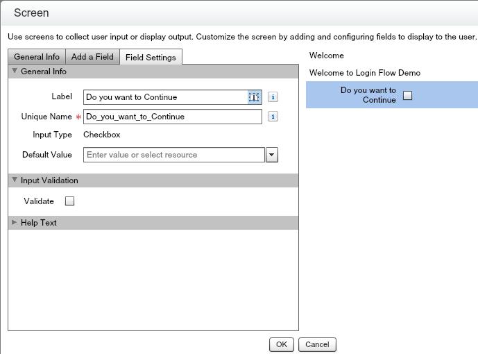 Salesforce Login Flow - Checkbox component