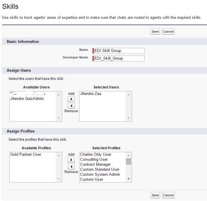 Salesforce Live Agent - Create Skills
