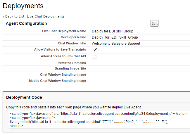 Salesforce Live Agent - Deployment JavaScript