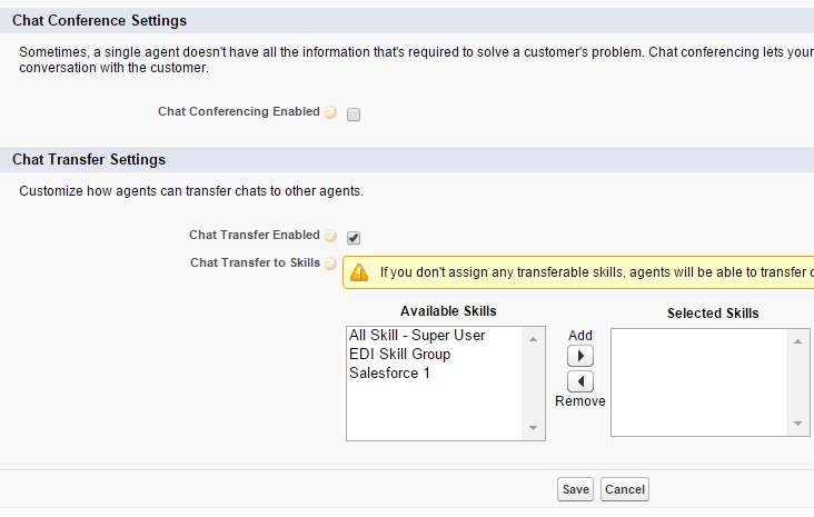 Salesforce Live Agent - Chat Transfere and Conference Settings