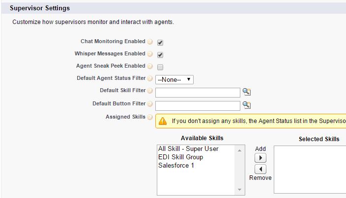 Salesforce Live Agent - Supervisor Settings