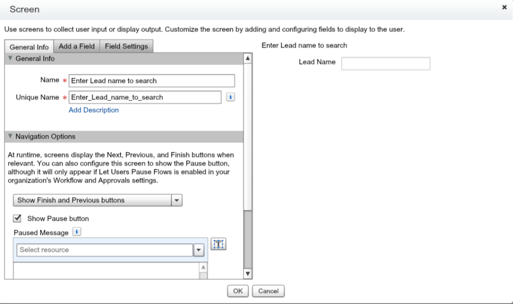 Input field to capture Lead Name to search in Flow