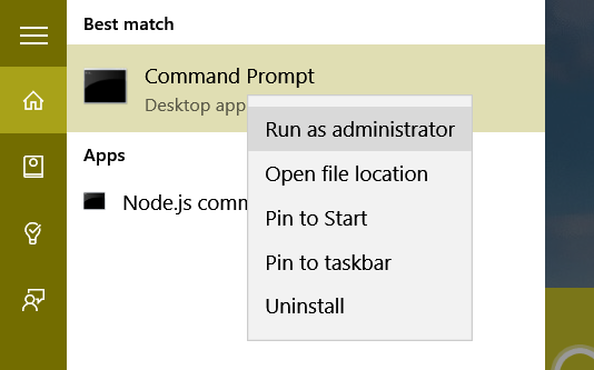 Run Comman prompt as Admin