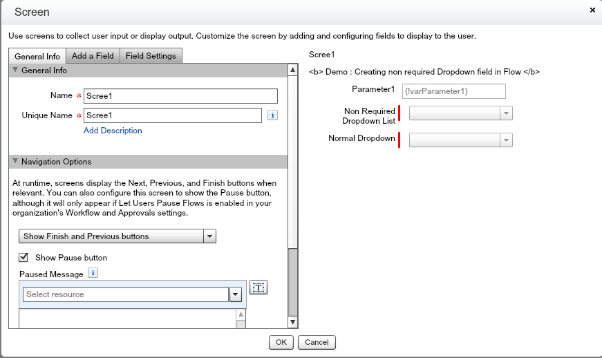 Salesforce Flow Screen with some input fields
