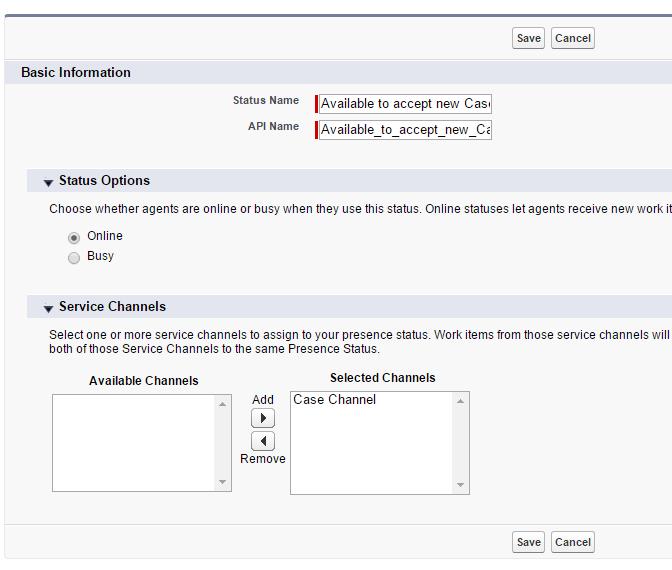 Omni Channel - Service Presence Statuses