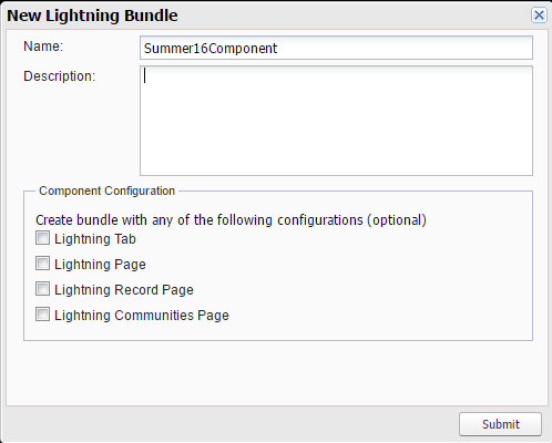 Salesforce Summer 16 Lightning Component Configuration