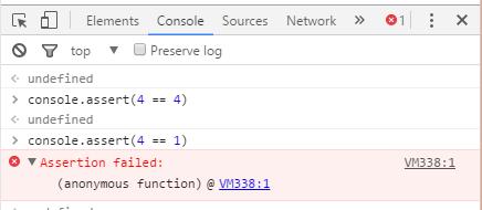 Console.assert in chrome developer tool