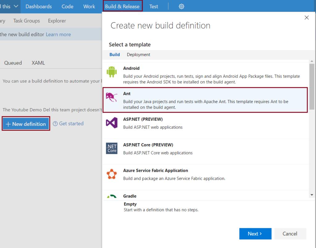 Team Foundation Server (TFS) - New Build definition