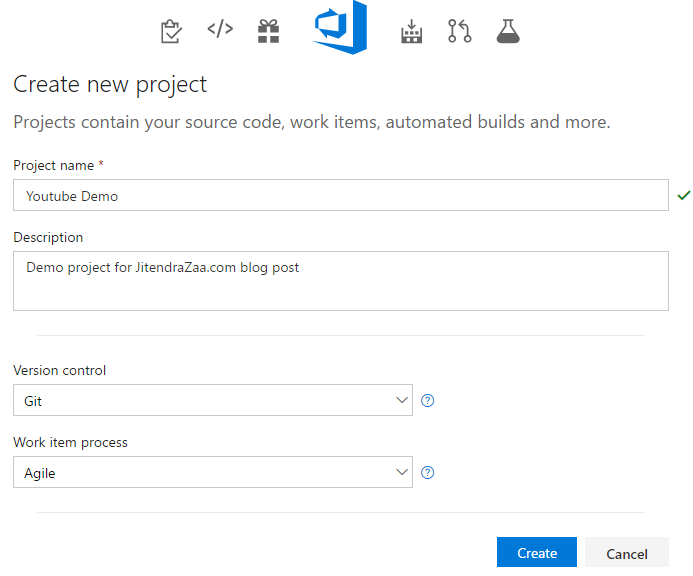 Visual Studio Team Foundation Server - New Project Screen