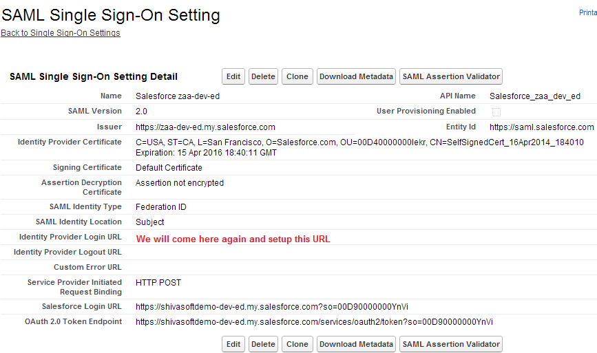 SAML Single Sign On Setting in Service Provider