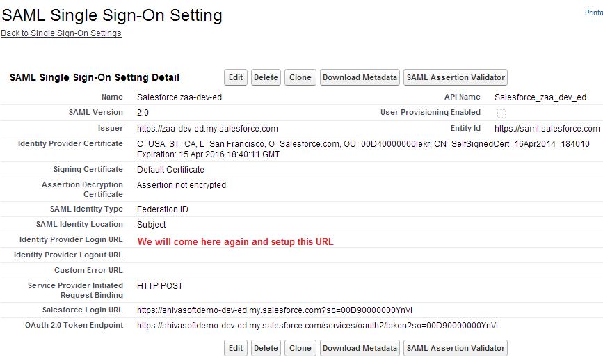 SAML Single Sign On Setting in Service Provider