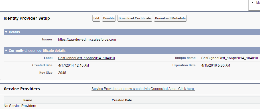 Salesforce Identity Provider Setup