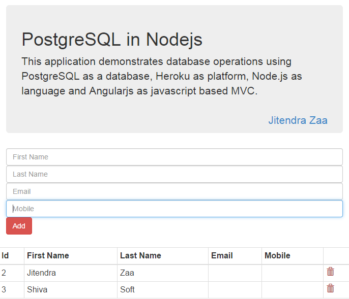 PostgreSQL in Node.js