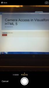 Visualforce Camera Access - Camera Mode