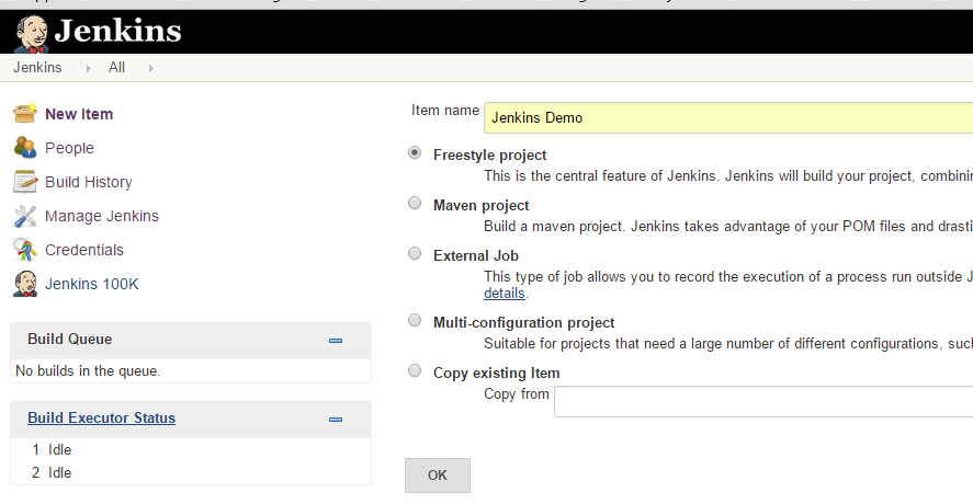 Create New Item in Jenkins - Free Style Project
