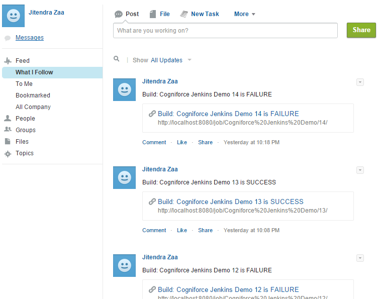 Jenkins Post build Action - Post to Salesforce Chatter