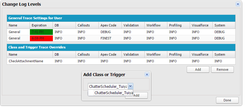 Salesforce - Setting log level for Apex class or trigger in Developer Console