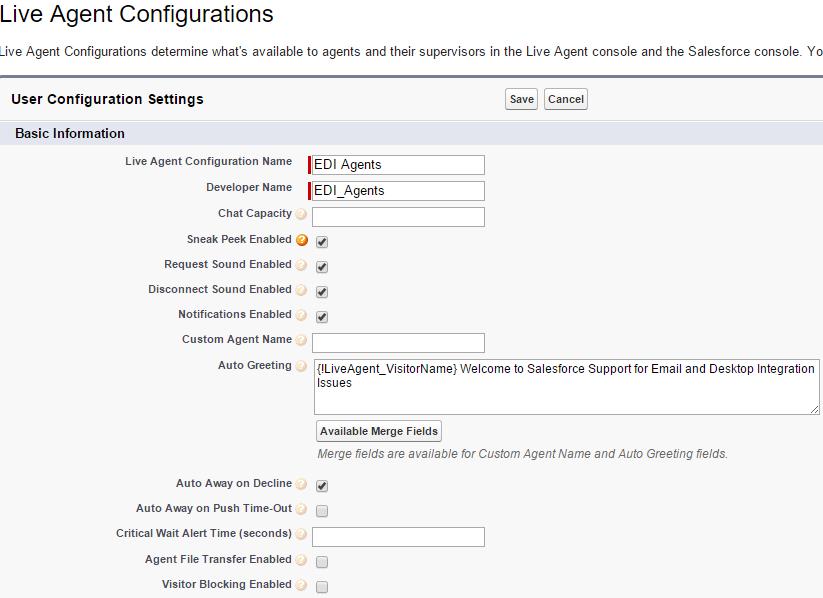 Salesforce Live Agent - Configurations
