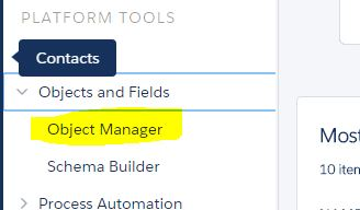Object Manager - Salesforce Winter 16