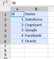 Account CSV file for Static resource to use in Test.loadData method