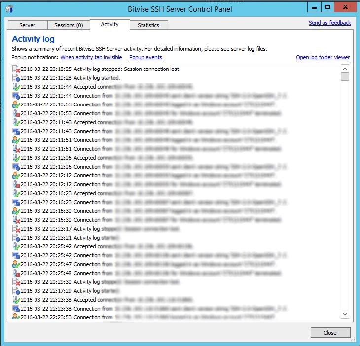 Biwise SSH Server Activity Log