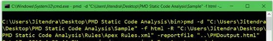 Sample command to run PMD from console