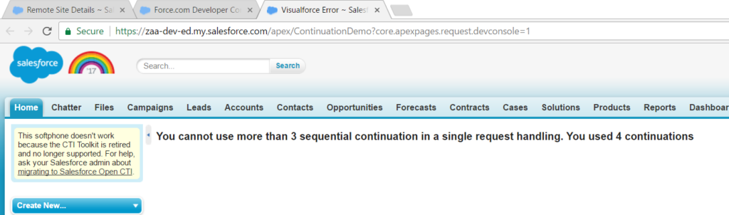Limitless Chaining of Continuation object in Salesforce