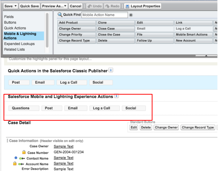 Add Quick Actions on Page Layout - Salesforce