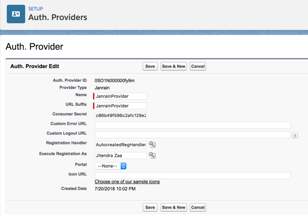 Janrain Auth Provider in Salesforce