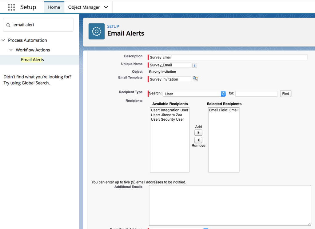 Salesforce Email Alert for Survey