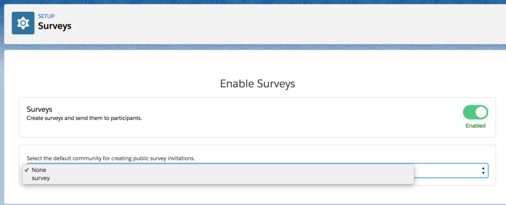 Salesforce - Enable Survey