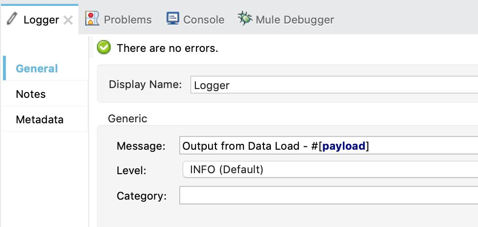 Logger in Mulesoft 3